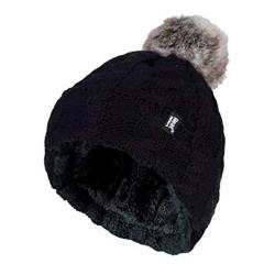 Ladies turnover cable hat with pom pom black