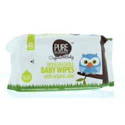 Biodegradable baby wipes aloe